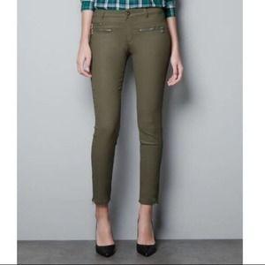 Zara Olive Zipper Skinny Coated stretchy denim 6